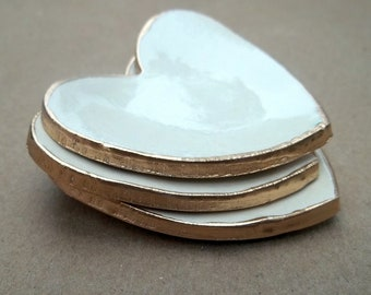 Three Ceramic Off White Heart Ring Bowls edged in gold itty bitty baptism favors  Baby shower bridal shower