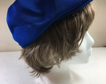 Royal Blue Paperboy Hat 100% Acrylic Ladies Size Small to Medium Previously 20 Dollars ON SALE