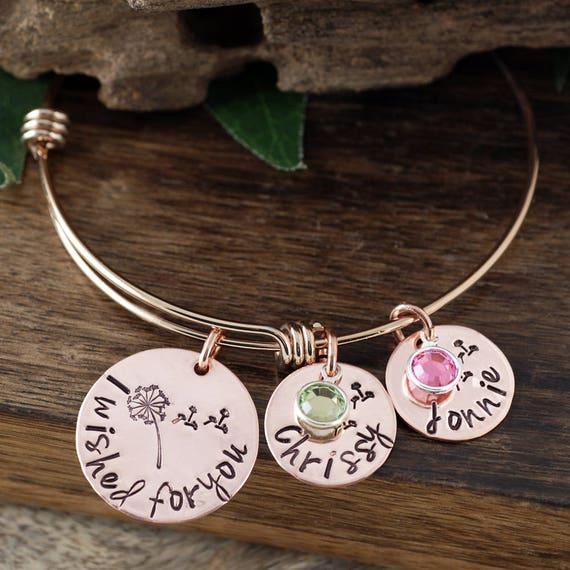 I Wished for You Bracelet, Personalized Mother's Bracelet, Custom Name Bracelet, Signature Jewelry, Engraved Bracelet, Gift for Mom