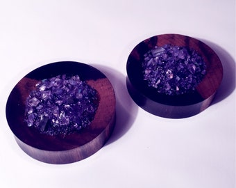 42mm Wood and amethyst stone plugs!