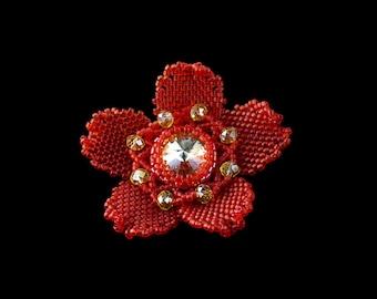 Red flower brooch Bead brooch Floral brooch Seed bead flower pin Beadwork Beaded Beadwoven Handmade jewelry