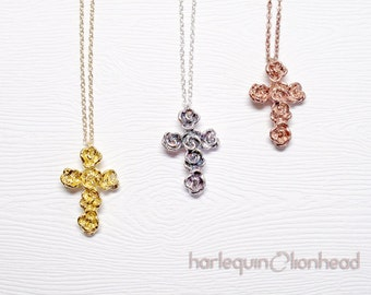 Rose Cross Pendant 16 inches Necklace, sterling silver, 14K gold/rose gold plated - 50% off spring sale, handmade in NY, ready to ship.