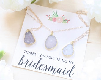 Bridesmaid Gift, Bridesmaid Jewelry Set, Bridesmaid Necklace Stone,  Set of 4 5 6 7 8, Boho Bridesmaid Jewelry, Bridesmaid Proposal Gift