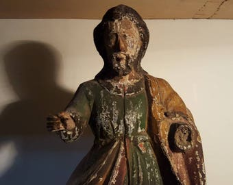 Antique 18th Century Carved Wooden Saint
