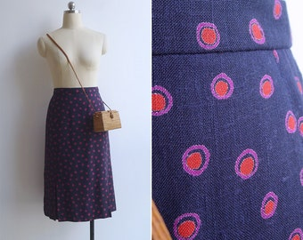 Vintage 80's 'Shadow Spot' High Waisted Pencil Skirt XS or S
