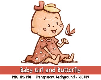 Baby Girl and Butterfly - Digital Download. Clip art and digital illustration, PNG JPG PDF 300 dpi