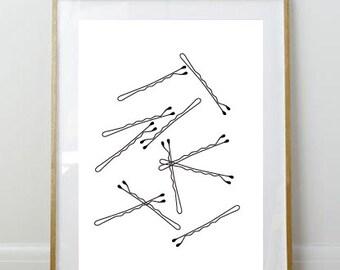 Bobby Pin Print // 8x10 Print // Art Print // Wall Decor // Home Decor // Bobby Pins // Girly // Bathroom Print // Bedroom Print //