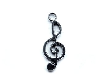 10 Silver Treble Clef Charms