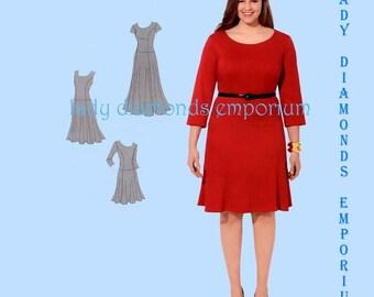 Simplicity 1537 Womens Dropped Waist Dress with Flared Skirt for Curvy Figures Plus size 20W 22W 24W 26W 28W  Amazing Fit Pattern Uncut FF