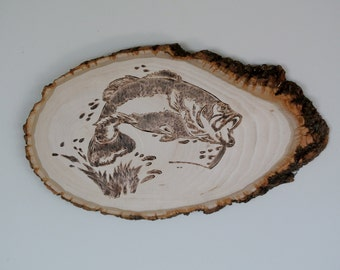 Bass Fish Outline Burnt on Wood piece Gift