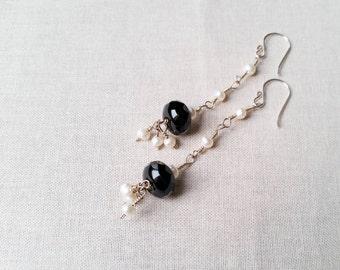 Onyx and Pearl Love Earrings: Black Onyx and Freshwater Pearl Sterling Silver Wire Wrapped Drop Earrings Handmade OOAK  Freshwater Pearl