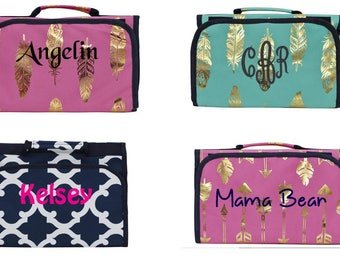 Personalized make up bag, monogrammed travel toiletry bag, bridesmaid gift idea, travel bag,  cosmetic hanging case,  mothers day gift