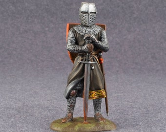 Medieval Knight Toy Figures with Sword 1/32 Scale Hand Painted 54mm Soldiers Tin Metal Miniature Antique Collection