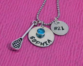 Lacrosse Necklace   Lacrosse Gifts   Gift for Lacrosse Player   Lacrosse Gift for Girl   Lacrosse Charm   Lacrosse Jewelry   Personalized