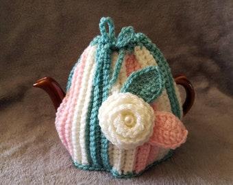 "2 Cup Tea Cosy. Handmade crochet ""Ice Cream Stripes""."