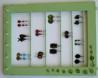Jewelry Display Organizer shabby soft green / 40 - 60 Earrings / 16 - 30Necklaces