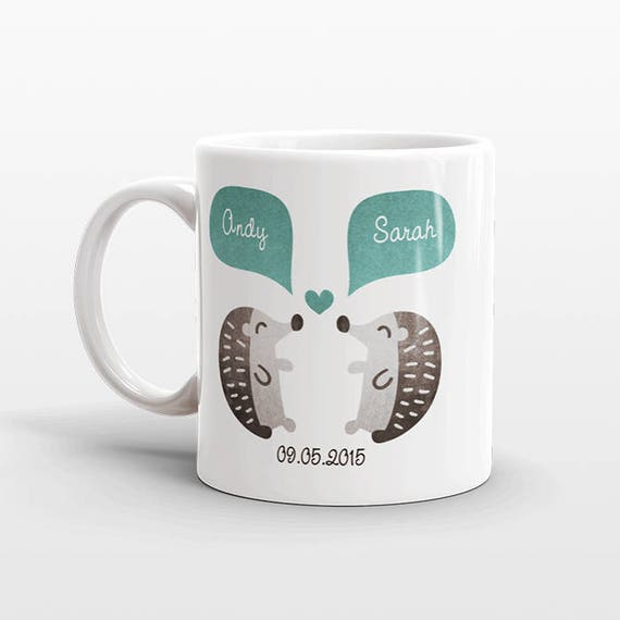 HEDGEHOG Mug Valentines Day Gift for Her for Him Animal Couple Mug Personalized Engagement Gift Wedding Gift Unique Coffee Mug Coffee Cup