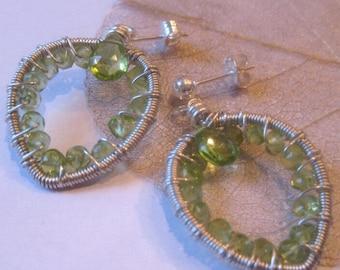 August peridot sale: Lothlorien leaves fairy earrings with free shipping