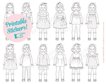 COLORABLE Printable Paper Doll STICKERS - Digital File- Instant Download- dress up, quiet activity, little girls, party favor, pretend play