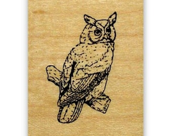 Great Horned Owl mounted rubber stamp, night bird of prey, nature, Sweet Grass Stamps No.9