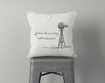 Windmill Throw Pillow, Farmhouse Pillow, Pillow Cover, Shabby Chic, Gray, Rustic Decor, Quote, Inspirational, Cushion, Off White, Feedsack