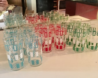 Set of 16 Mid Century Drinking Glasses