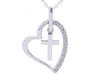 Diamond Heart Necklace, 0.05ct, Sterling Silver (925N419)