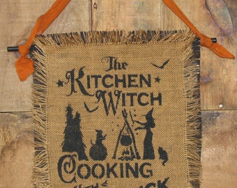 Primitive Halloween Stenciled Burlap Hanging - The Kitchen Witch - Ready to Ship