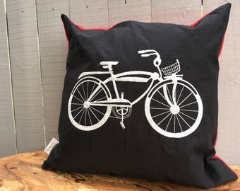 """Bicycle Pillow, Decorative Pillow, Holiday Decor, Cabin Decor 20"""" x 20"""", Black and Red Bike Pillow Cover, Ready to Ship"""