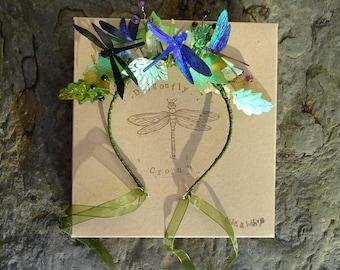 Shimmering Dragonfly Crystal Leaf Crown