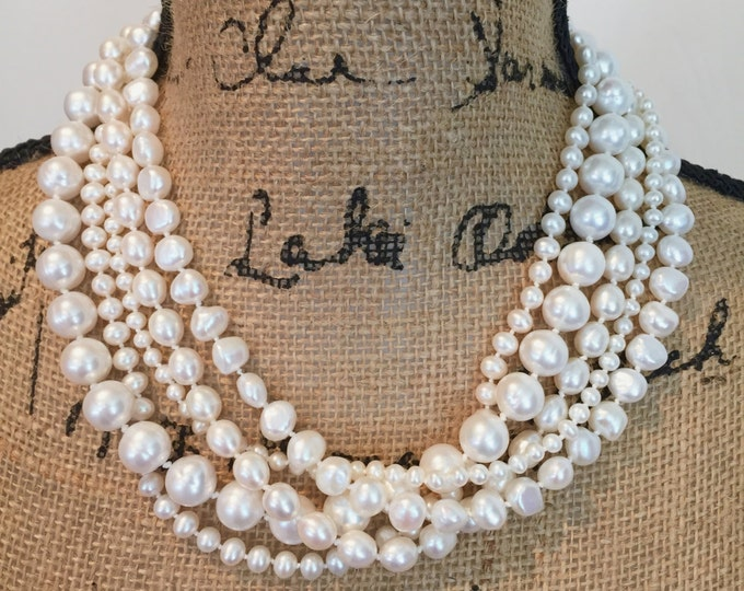 Statement Pearl Necklace--5 Chunky strands of Freshwater Pearls