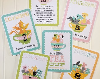 Numbers, 123, Animals, Teacups, Number Counting Card Set - In a Little Teacup Animals