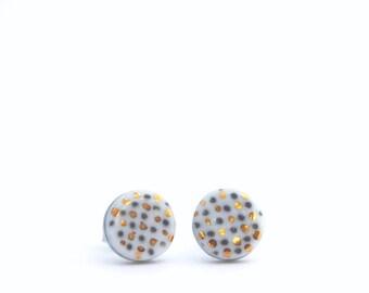 Porcelain stud earrings, small post earrings, ceramic jewellery, White gold porcelain, minimalist circle earrings, OeiCeramics