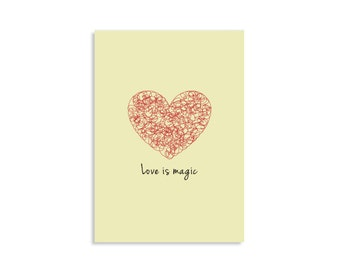 Art Pirnt, Home minimalist decor, Love is magic, Original illustration, red, cream, inspirational art, motivational art, wall art