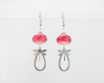 Silver Dragonfly and Pearl Earrings pink grenadine #1480 Bohemian glass