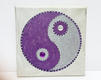 Image, mural, yin and yang, symbol, polarity, hand painted, yoga, Buddha, balance, Tao, energy, acrylic, canvas, violet, silver,