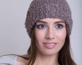 Knitted Mohair Beanie in Taupe