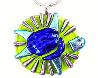 """Sea Turtle Pendant - Dichroic Fused Glass Green Lime Blue Purple Polka Dotted Striped Patterned Recycled Terapin Textured Dichro - 2"""" 5cm"""