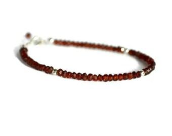 Silver garnet bracelet, stackable bracelet, mozambique garnet bracelet, burgundy bracelet, gift for her, January birthstone