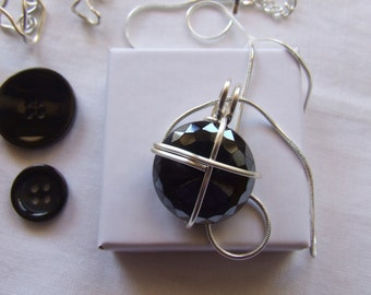 Pendant made from vintage black Swarovski button. Complete with choker. Gift Idea.