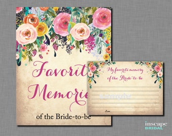 Favorite Memories of the Bride To Be Game Printable,  Bride-to-Be, Shabby Chic, Floral Bridal Shower Game, Bridal Shower Activity, Memories
