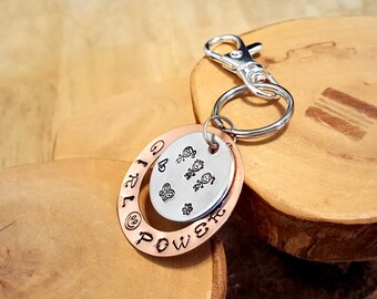 Girl Power layered hand stamped mixed metals copper and aluminum keychain