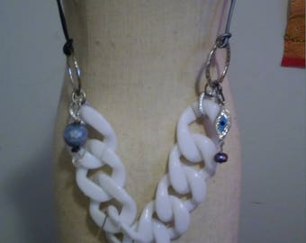 leather strands and acrylic chain necklace with black agate pendant