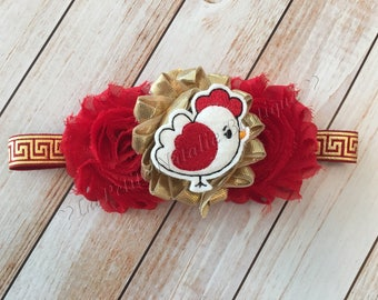 Red Hen Chicken Rooster red and gold headband