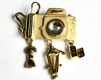 Camera pin brooch with charms
