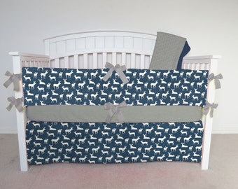 FREE SHIPPING - 4 Piece Crib Set - Navy deer crib set, blue, dark blue, navy blue crib bedding set
