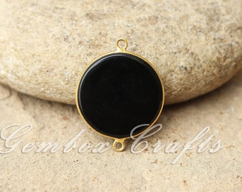 Black Onyx 28mm Round Both Side Flat Smooth 925 Sterling Silver Gold Plated Bezel Connector