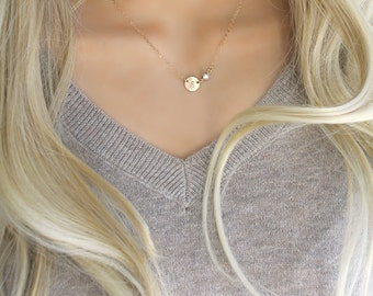 Gold initial necklace, solitaire cubic zirconia & Initial disc, 14Kt Gold Filled personalized custom stamped tag Monogram Letter circle