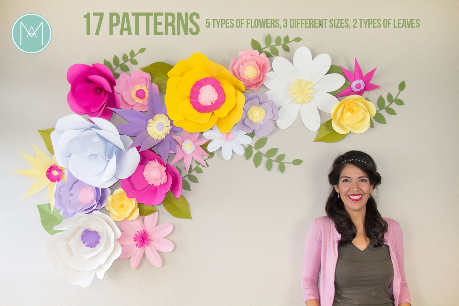 Full giant paper flower backdrop patterns and video tutorials this is a digital file mightylinksfo