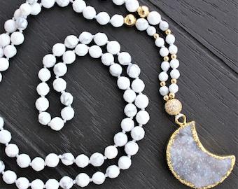 Druzy Necklace Moon Necklace Crescent Moon Necklace Druzy Jewelry Boho Necklace Boho Jewelry Mala Beads Necklace Geode Necklace Gold Moon